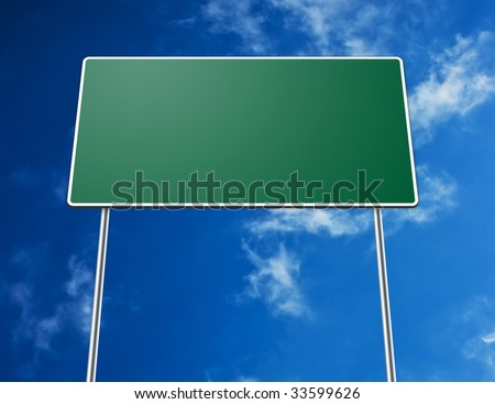 Digital creation of a green blank road sign with blue sky in background.
