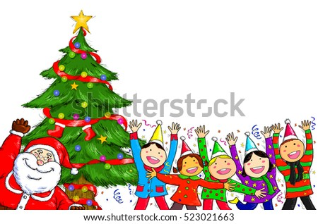 Christmas tree made group people your stock vector 234537466