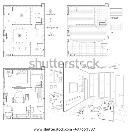 Set Of Black And White Drawings Interior Design Floor Plan With