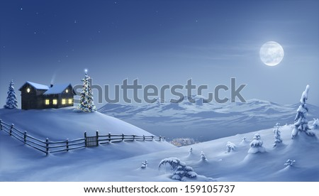Digital painting of a silent Christmas night in the snow covered mountains.