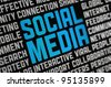 Digital poster on a social media theme. Selective focus on headline text. - stock photo