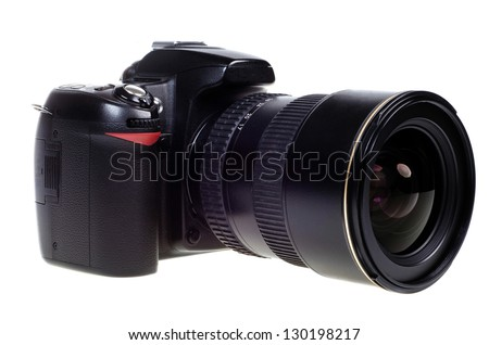digital single lens reflex camera with zoom lense isolated on white background