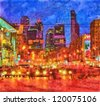 Digital structure of painting. Night cityscape - stock photo