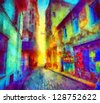 Digital structure of painting. Rainbow bystreet - stock photo