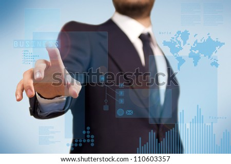 Digital technology for the business application, a business man using a touchscreen for finance purpoise, diagram and histogram