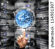 digital world take control in data center room : Elements of this image furnished by NASA - stock photo