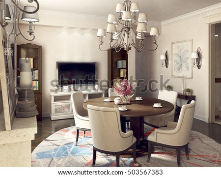 Dining area in the living room. 3d illustration.