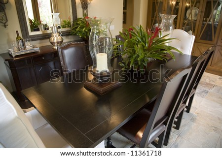 Dining table with luxurious decor.