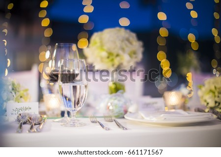 romantic dinner setup holiday table setting stock photo 521640139