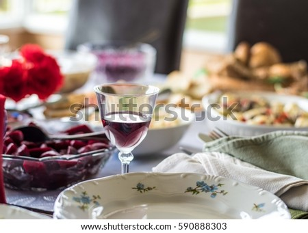 restaurant bar table plate appetizers wine stock photo