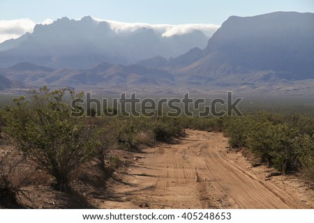 Dirt road in Big Bend National Park in Texas