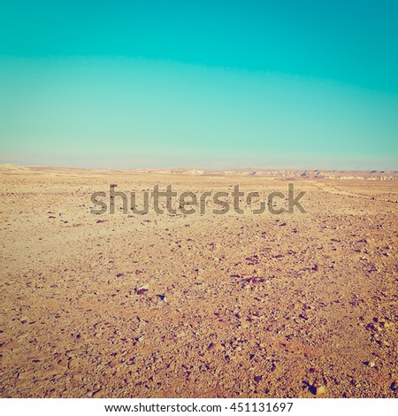 Dirt Road of the Negev Desert in Israel, Retro Effect