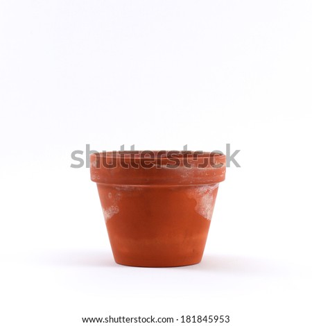Dirty orange flower pot