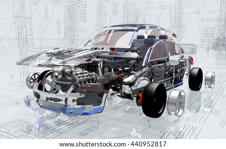 Disassembled car on the background of the drawing.,3d render