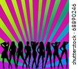 disco party girls - stock vector