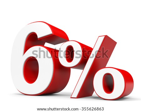 Discount 6 percent off. 3D illustration.