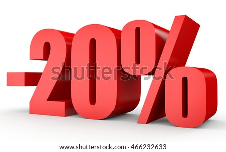 Discount 20 percent off. 3D illustration on white background.