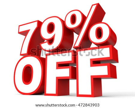 Discount 79 percent off. 3D illustration on white background.