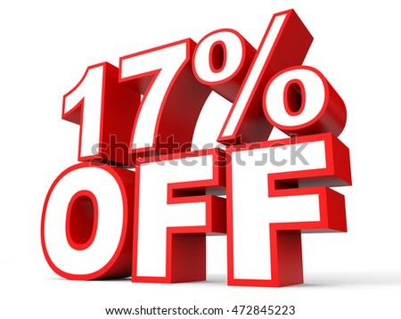 Discount 17 percent off. 3D illustration on white background.