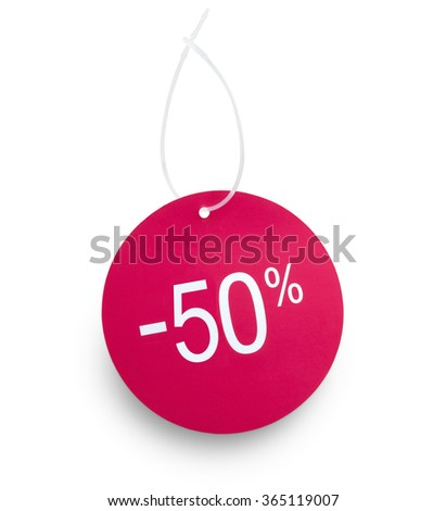 Discount tag 50% off red color against white background. Clipping path on tag and hanger tape