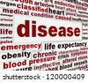 Disease medical warning message background. Medical dysfunction poster design - stock photo
