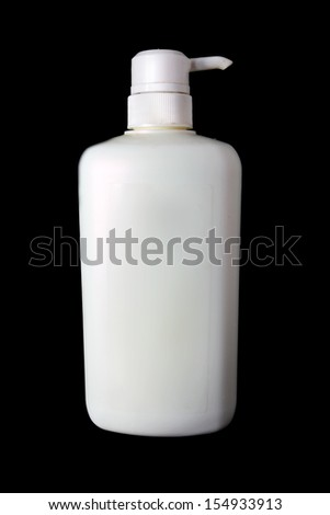 Dispenser Pump Shampoo bottle on black backrgound