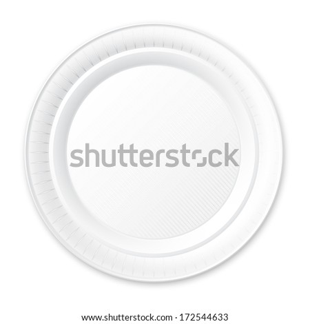 Disposable Plastic Plate with Shadow - Isolated on White