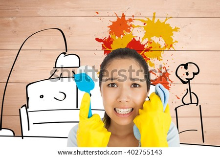 Distressed woman holding cloth and scrubbing brush against living room sketch with paint splash
