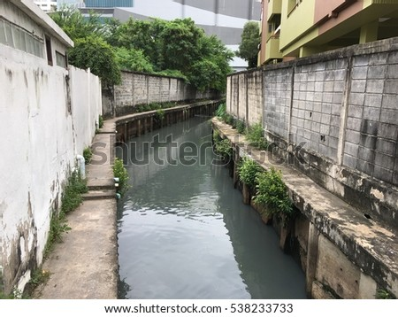 Ditch in city