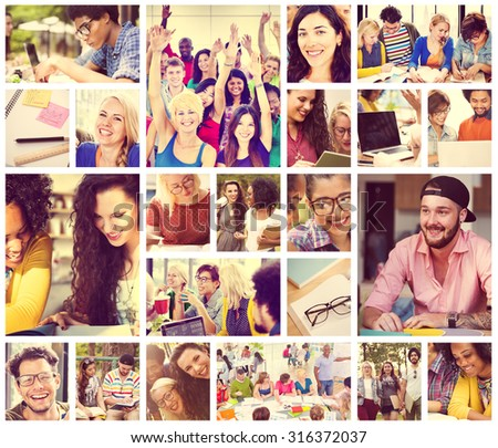 Diverse People Students Start Up Collage Concept