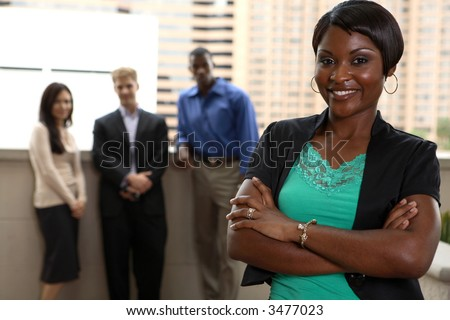 diverse team with black female leader
