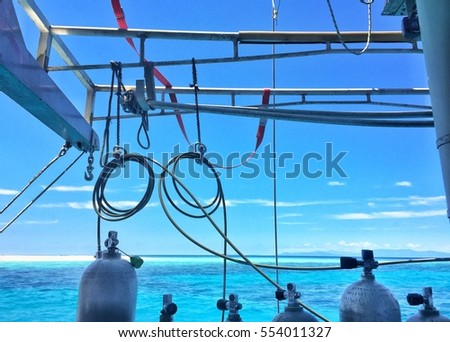 Diving equipment at the back of a boat on the Great Barrier Reef