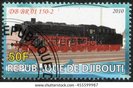 "DJIBOUTI - CIRCA 2010: A post stamp printed in Djibouti shows a series of images ""History of rail transport"", circa 2010"