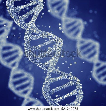 Dna helix , Gene mutation , Genetics  , 3d illustration