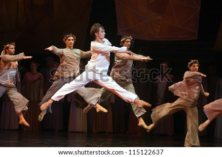 "DNEPROPETROVSK, UKRAINE - SEPTEMBER 25: Members of the Dnepropetrovsk State Opera and Ballet Theatre perform ""Jesus"" on September 25, 2012 in Dnepropetrovsk, Ukraine"