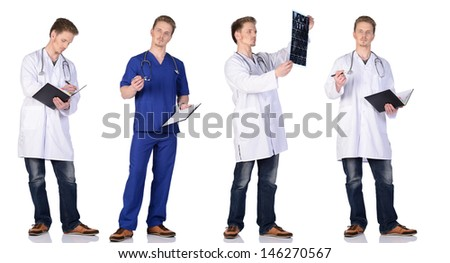 Doctor and  intern with MRI snapshot, clipboard and phonendoscope. Isolated on white background.