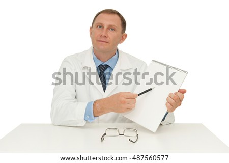 Doctor points to an empty form