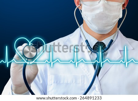 doctor using stethoscope to listening glow heart beat