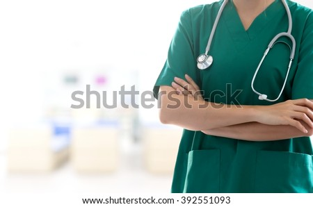Doctor with a stethoscope in hospital