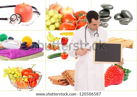 Doctor with empty sign and Collage - healthy living / healthy living