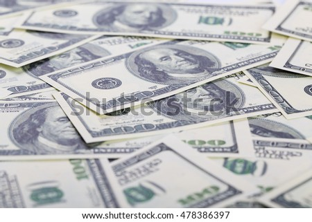 Dollar banknotes background. Closeup