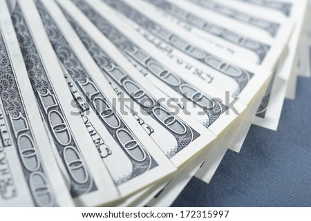 Dollar banknotes on a table