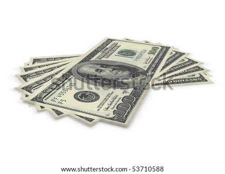 Dollar bills on a white background
