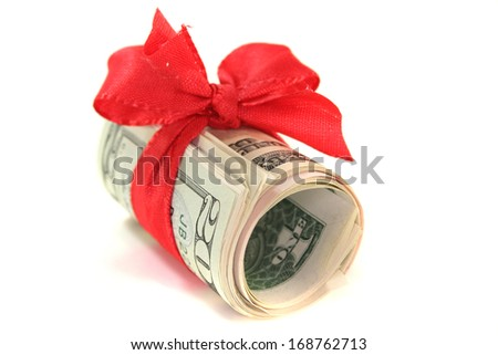 dollar bills with bow