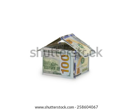 Dollar house isolated on the white background