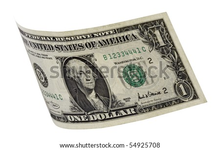 dollar,isolated on white with clipping path.