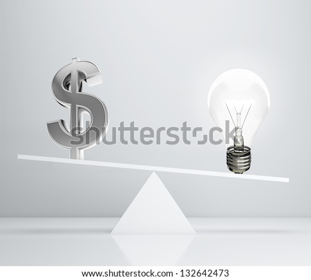 dollar sign and lamp on scales, 3d render