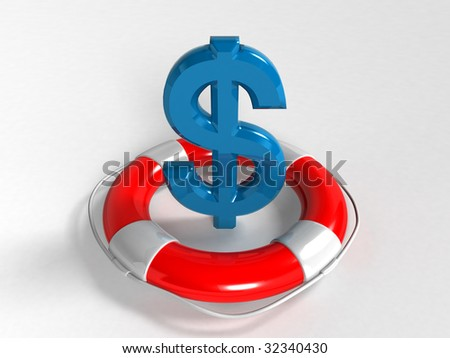 dollar symbol and lifebuoy ring isolated on a white background (3D rendering)