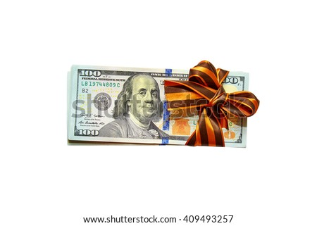 dollars are tied with a gift tape on a white background