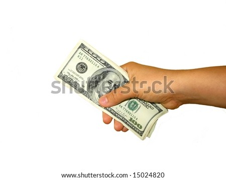 dollars in hand on white background